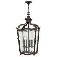 Sorrento 4 Light 16 inch Aged Iron Foyer Ceiling Light, Clear Seedy Glass