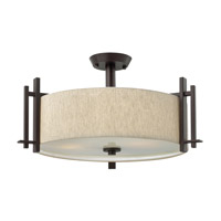 Sloan 3 Light 24 inch Regency Bronze Semi Flush Ceiling Light