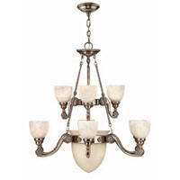 Hinkley 4559FP Vanderbilt 9 Light 38 inch French Pewter Chandelier Ceiling Light, 2 Tier