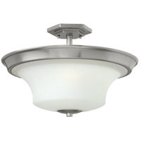Hinkley 4632BN Brantley 3 Light 17 inch Brushed Nickel Semi Flush Ceiling Light in Etched White, Incandescent, Etcher Amber Glass