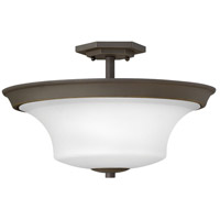 Hinkley 4632OZ-WH Brantley 3 Light 17 inch Oil Rubbed Bronze Foyer Semi-Flush Mount Ceiling Light in Etched White, Medium
