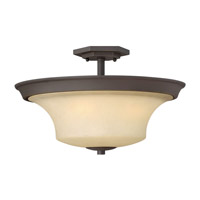Hinkley 4632OZ Brantley 3 Light 17 inch Oil Rubbed Bronze Semi Flush Ceiling Light in Amber Etched, Incandescent