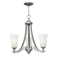 Hinkley 4633BN Brantley 3 Light 23 inch Brushed Nickel Chandelier Ceiling Light in Etched White, Etcher Amber Glass
