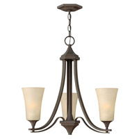 Brantley 3 Light 23 inch Oil Rubbed Bronze Chandelier Ceiling Light in Amber Etched