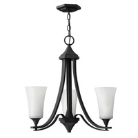 Hinkley 4633TB Brantley 3 Light 23 inch Textured Black Chandelier Ceiling Light in Etched White