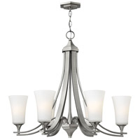 Hinkley 4636BN Brantley 6 Light 30 inch Brushed Nickel Chandelier Ceiling Light in Etched White, Etcher Amber Glass