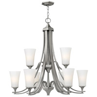 Hinkley 4638BN Brantley 9 Light 33 inch Brushed Nickel Foyer Chandelier Ceiling Light in Etched White, Etcher Amber Glass