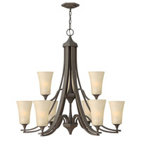 Brantley 9 Light 33 inch Oil Rubbed Bronze Chandelier Ceiling Light in Amber Etched, 2 Tier