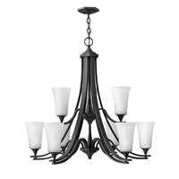 Hinkley 4638TB Brantley 9 Light 33 inch Textured Black Chandelier Ceiling Light in Etched White, 2 Tier photo thumbnail