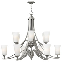 Hinkley 4639BN Brantley 12 Light 43 inch Brushed Nickel Chandelier Ceiling Light in Etched White, Etcher Amber Glass