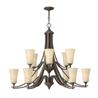 Hinkley 4639OZ Brantley 12 Light 43 inch Oil Rubbed Bronze Chandelier Ceiling Light in Amber Etched, 2 Tier