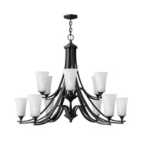 Hinkley 4639TB Brantley 12 Light 43 inch Textured Black Chandelier Ceiling Light in Etched White, 2 Tier