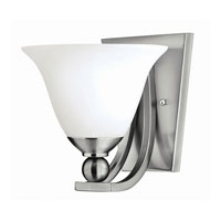 Bolla 1 Light 8 inch Brushed Nickel Bath Wall Light in GU24, Etched Opal