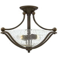 Bolla 2 Light 19 inch Olde Bronze Foyer Semi-Flush Mount Ceiling Light in Clear Seedy, Incandescent, Clear Seedy Glass