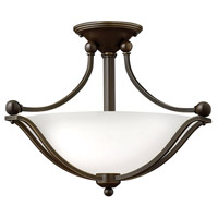 Bolla 2 Light 19 inch Olde Bronze Semi Flush Ceiling Light in Etched Opal, LED