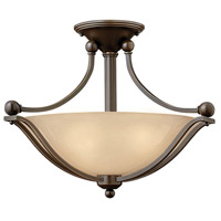 Bolla 2 Light 19 inch Olde Bronze Semi Flush Ceiling Light in Amber Seedy, Incandescent