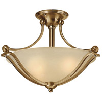 Bolla 2 Light 19 inch Brushed Bronze Semi-Flush Mount Ceiling Light in Light Amber Seedy, GU24, Light Amber Seedy Glass