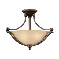 Bolla 2 Light 19 inch Olde Bronze Semi-Flush Mount Ceiling Light in Light Amber Seedy, GU24, Light Amber Seedy Glass