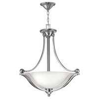 Hinkley 4652BN Bolla 3 Light 23 inch Brushed Nickel Inverted Pendant Ceiling Light in Incandescent Etched Opal