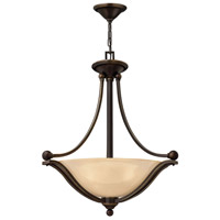 Bolla 3 Light 23 inch Olde Bronze Inverted Pendant Ceiling Light in Amber Seedy, Incandescent