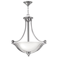 Bolla 3 Light 23 inch Brushed Nickel Foyer Ceiling Light in Etched Opal, GU24, Etched Opal Glass
