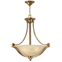 Bolla 3 Light 23 inch Brushed Bronze Foyer Ceiling Light in Light Amber Seedy, GU24, Light Amber Seedy Glass