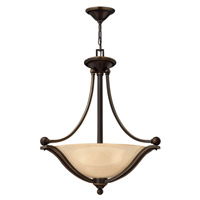 Bolla 3 Light 23 inch Olde Bronze Foyer Ceiling Light in Light Amber Seedy, GU24, Light Amber Seedy Glass