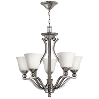 Hinkley 4655BN Bolla 5 Light 24 inch Brushed Nickel Foyer Chandelier Ceiling Light in Etched Opal