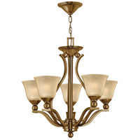 Bolla 5 Light 24 inch Brushed Bronze Chandelier Ceiling Light in Light Amber Seedy