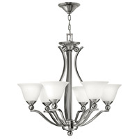 Bolla 6 Light 29 inch Brushed Nickel Chandelier Ceiling Light in Etched Opal