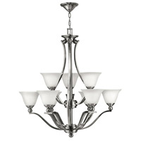 Bolla 9 Light 35 inch Brushed Nickel Foyer Chandelier Ceiling Light in Etched Opal, 2 Tier