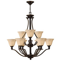 Hinkley 4657OB Bolla 9 Light 35 inch Olde Bronze Chandelier Ceiling Light in Amber Seedy, 2 Tier