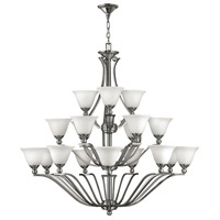 Hinkley 4659BN Bolla 18 Light 48 inch Brushed Nickel Foyer Chandelier Ceiling Light in Etched Opal, 3 Tier