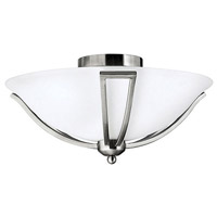 Bolla 2 Light 17 inch Brushed Nickel Semi Flush Ceiling Light in Etched Opal, Incandescent