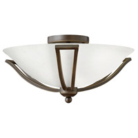 Bolla 2 Light 17 inch Olde Bronze Semi Flush Ceiling Light in Etched Opal, Incandescent