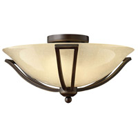 Bolla 2 Light 17 inch Olde Bronze Semi Flush Ceiling Light in Amber Seedy, Incandescent