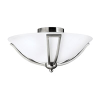 Bolla 2 Light 17 inch Brushed Nickel Semi Flush Ceiling Light in Etched Opal, GU24, Etched Opal Glass