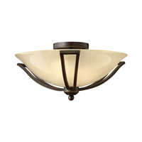 Bolla 2 Light 17 inch Olde Bronze Semi Flush Ceiling Light in Light Amber Seedy, GU24, Light Amber Seedy Glass
