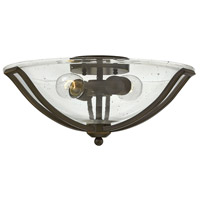 Bolla 2 Light 17 inch Olde Bronze Semi Flush Ceiling Light in Clear Seedy, Incandescent, Clear Seedy Glass