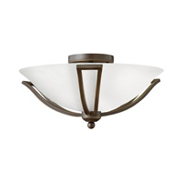 Bolla 2 Light 17 inch Olde Bronze Semi Flush Ceiling Light in Etched Opal, GU24, Etched Opal Glass