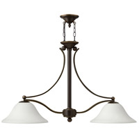 Bolla 2 Light 44 inch Olde Bronze Linear Chandelier Ceiling Light in Etched Opal