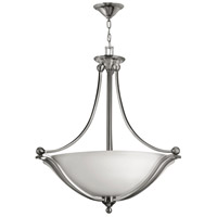 Hinkley 4664BN Bolla 4 Light 30 inch Brushed Nickel Inverted Pendant Ceiling Light in Etched Opal, Incandescent