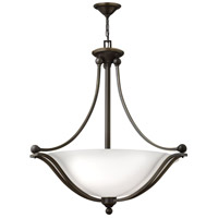 Hinkley 4664OB-OPAL Bolla 4 Light 30 inch Olde Bronze Inverted Pendant Ceiling Light in Etched Opal Incandescent