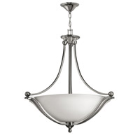 Bolla 4 Light 30 inch Brushed Nickel Foyer Ceiling Light in Etched Opal, GU24, Etched Opal Glass