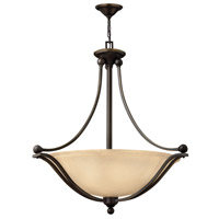 Bolla 4 Light 30 inch Olde Bronze Foyer Ceiling Light in Light Amber Seedy, GU24, Light Amber Seedy Glass
