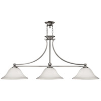 Bolla 3 Light 56 inch Brushed Nickel Linear Chandelier Ceiling Light in Etched Opal
