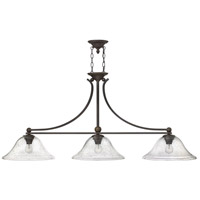 Bolla 3 Light 56 inch Olde Bronze Linear Chandelier Ceiling Light in Clear Seedy