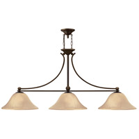 Hinkley 4666OB Bolla 3 Light 56 inch Olde Bronze Linear Chandelier Ceiling Light in Amber Seedy