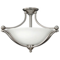 Bolla 3 Light 23 inch Brushed Nickel Semi Flush Ceiling Light in Etched Opal, Incandescent