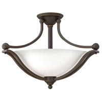 Bolla 3 Light 23 inch Olde Bronze Semi Flush Ceiling Light in Etched Opal, LED